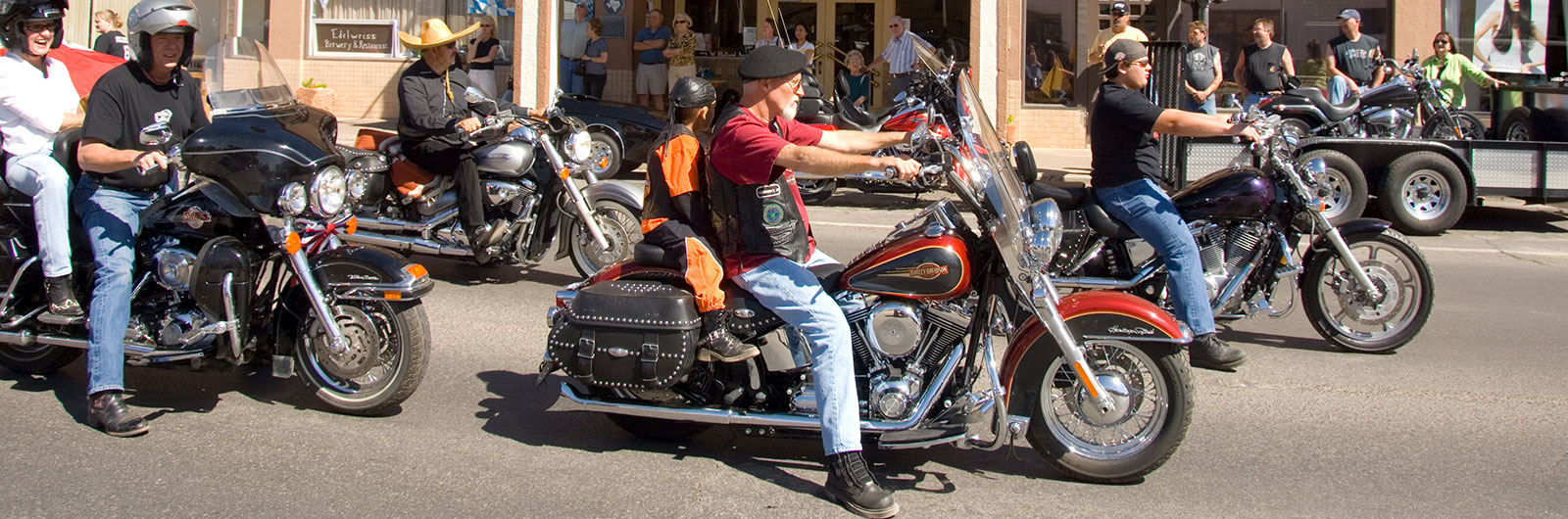 Bikers join the parade in Alpine.