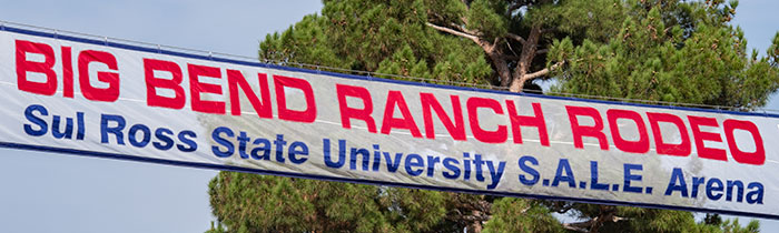 Banner for the Big Bend Ranch Rodeo in Alpine.