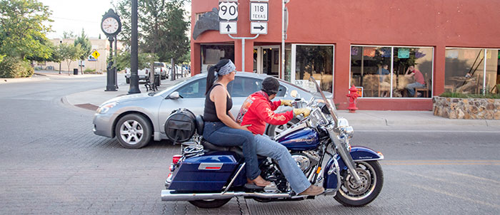 Biker couple passes the Old Gringo.