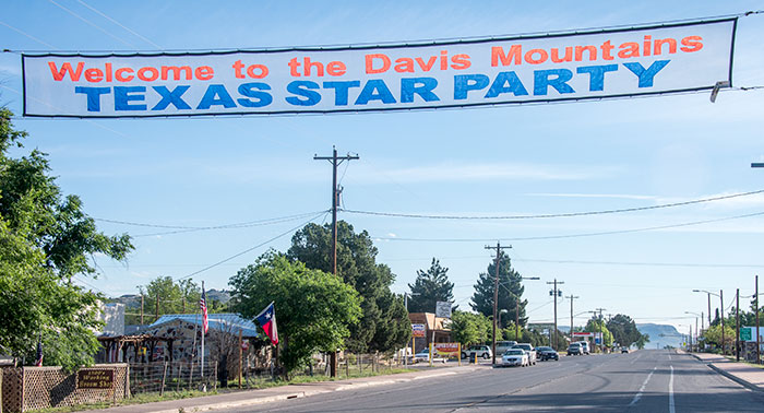 Street banner for the Texas Star Party in the Davis Mountains.